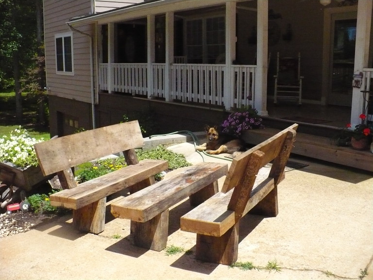 White Oak Rustic Bench Set